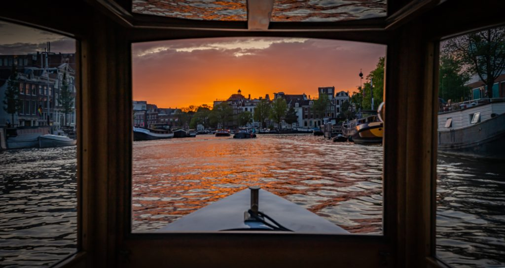 Canal view from a private boat in Amsterdam